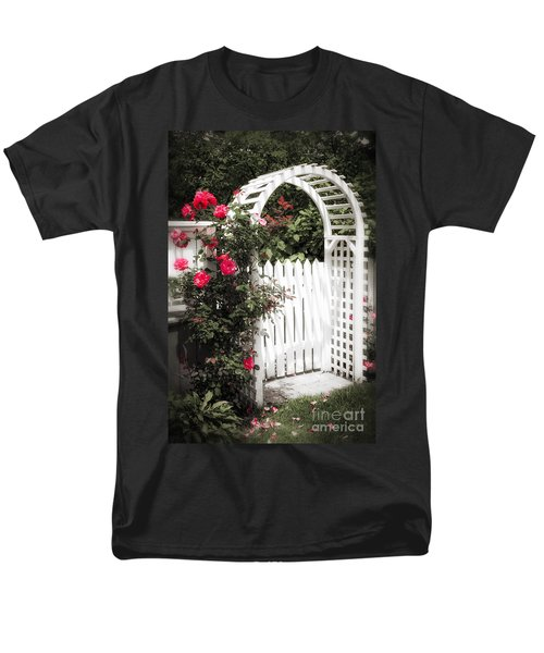 White arbor with red roses T-Shirt by Elena Elisseeva