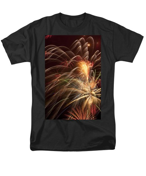 Fireworks in night sky T-Shirt by Garry Gay