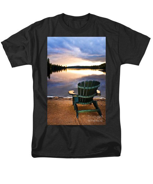 Wooden chair at sunset on beach T-Shirt by Elena Elisseeva