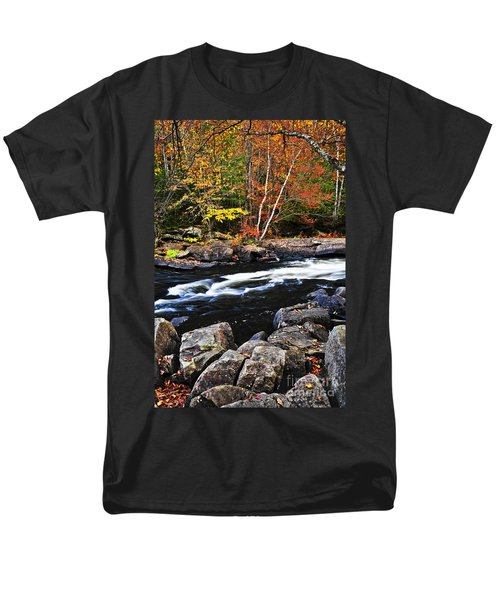 Fall forest and river landscape T-Shirt by Elena Elisseeva