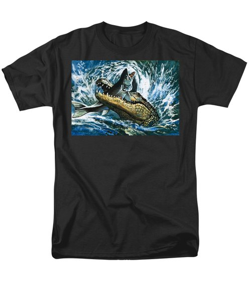 Alligator Eating Fish Men's T-Shirt  (Regular Fit) by English School