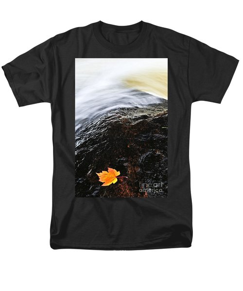 Autumn leaf on river rock T-Shirt by Elena Elisseeva