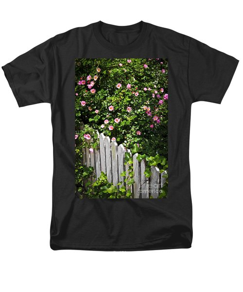 Garden fence with roses T-Shirt by Elena Elisseeva