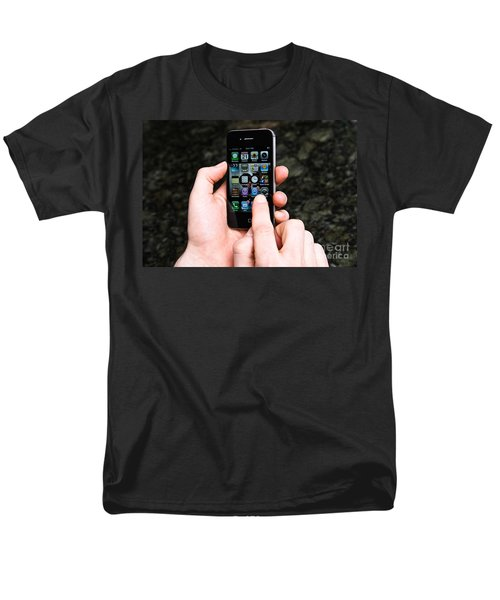 Hands Holding An Iphone T-Shirt by Photo Researchers, Inc.