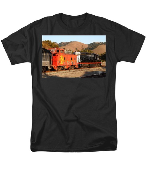 Historic Niles Trains in California . Old Southern Pacific Locomotive and Sante Fe Caboose . 7D10843 T-Shirt by Wingsdomain Art and Photography