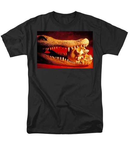 Human skull  alligator skull T-Shirt by Garry Gay