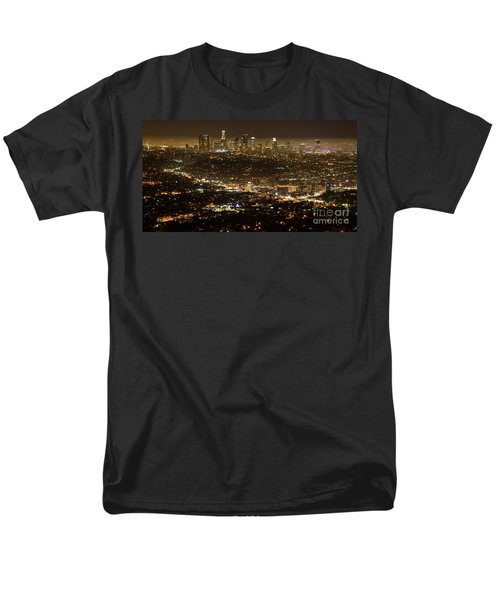 Los Angeles  City View At Night  Men's T-Shirt  (Regular Fit) by Bob Christopher