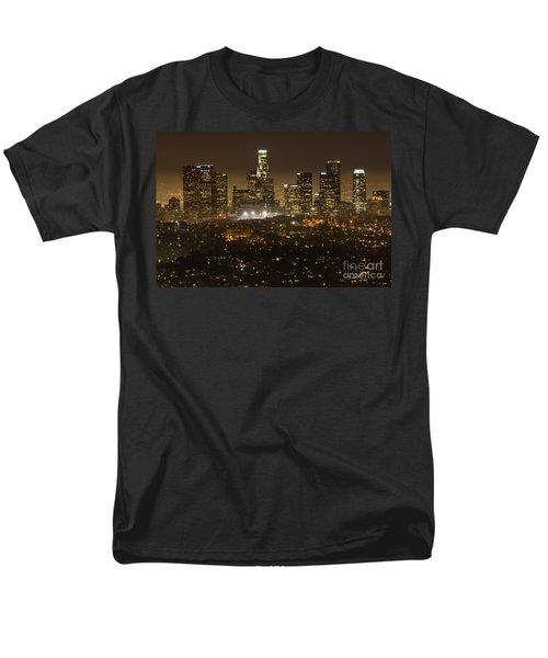 Los Angeles Skyline At Night Men's T-Shirt  (Regular Fit) by Bob Christopher