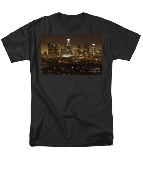 Los Angeles Skyline At Night Men's T-Shirt  (Regular Fit) by Bob Christopher
