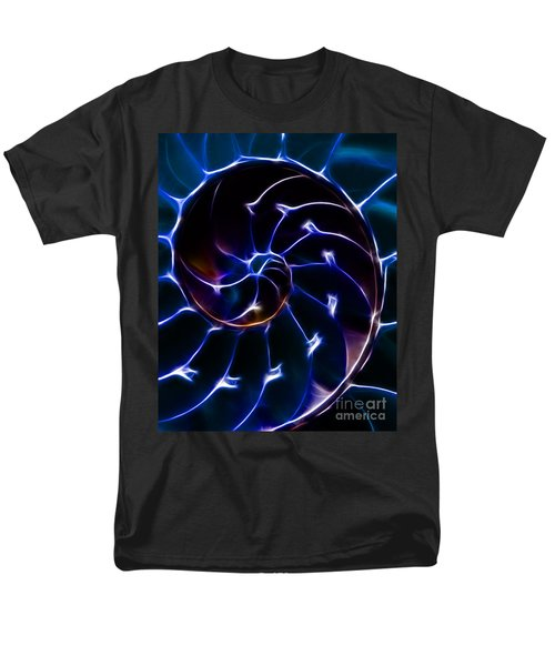Nautilus Shell - Electric - Blue T-Shirt by Wingsdomain Art and Photography