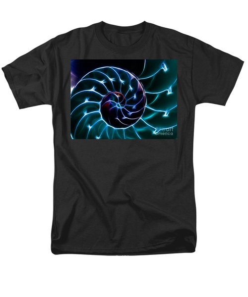 Nautilus Shell - Electric - v2 - Cyan T-Shirt by Wingsdomain Art and Photography