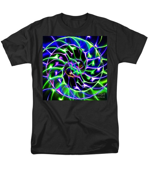 Nautilus Shell Ying and Yang - Electric - v2 - Blue-Green T-Shirt by Wingsdomain Art and Photography