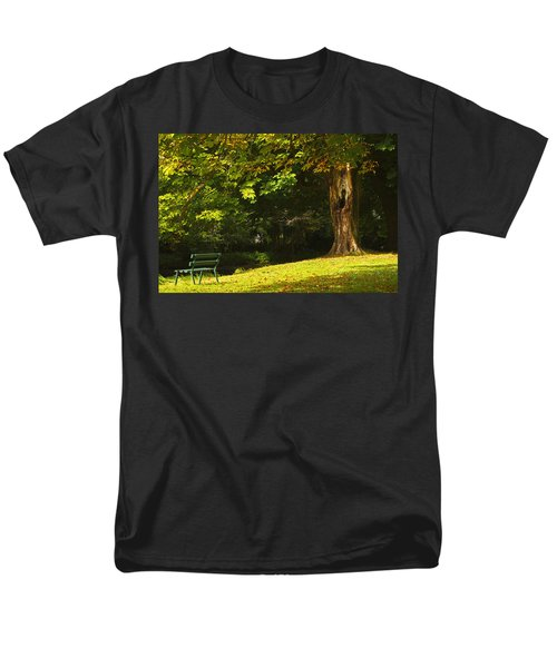 Park Bench Beside The Owenriff River In T-Shirt by Trish Punch