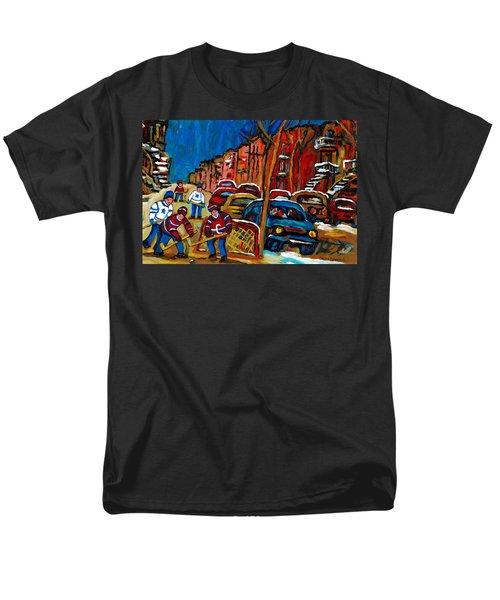 VERDUN ROWHOUSES WITH HOCKEY - PAINTINGS OF VERDUN MONTREAL STREET SCENES IN WINTER T-Shirt by CAROLE SPANDAU