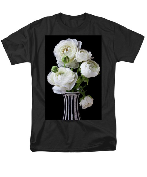 White ranunculus in black and white vase T-Shirt by Garry Gay