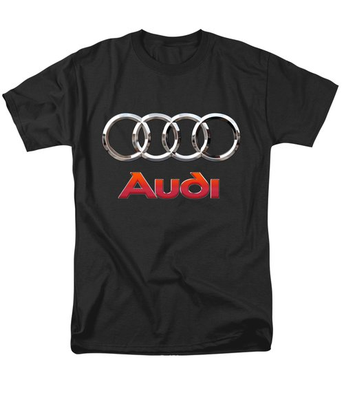Audi - 3 D Badge On Black Men's T-Shirt  (Regular Fit) by Serge Averbukh