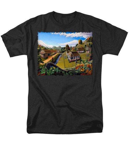 Appalachia Summer Farming Landscape - Appalachian Country Farm Life Scene - Rural Americana Men's T-Shirt  (Regular Fit) by Walt Curlee