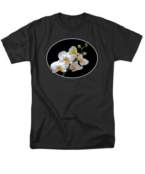 White Orchids On Black Men's T-Shirt  (Regular Fit) by Gill Billington