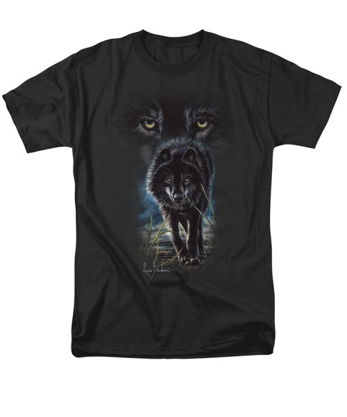 Black Wolf Hunting Men's T-Shirt  (Regular Fit) by Lucie Bilodeau