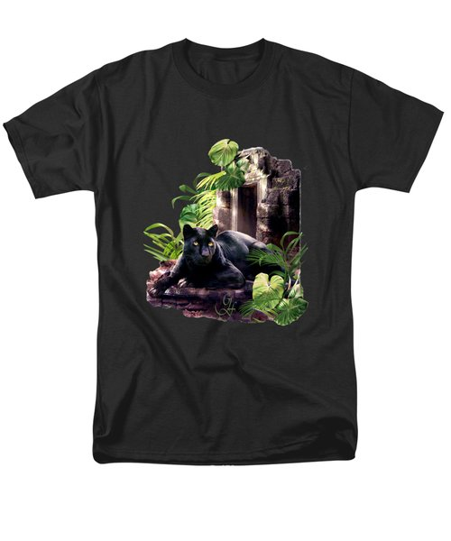 Black Panther Custodian Of Ancient Temple Ruins  Men's T-Shirt  (Regular Fit) by Regina Femrite