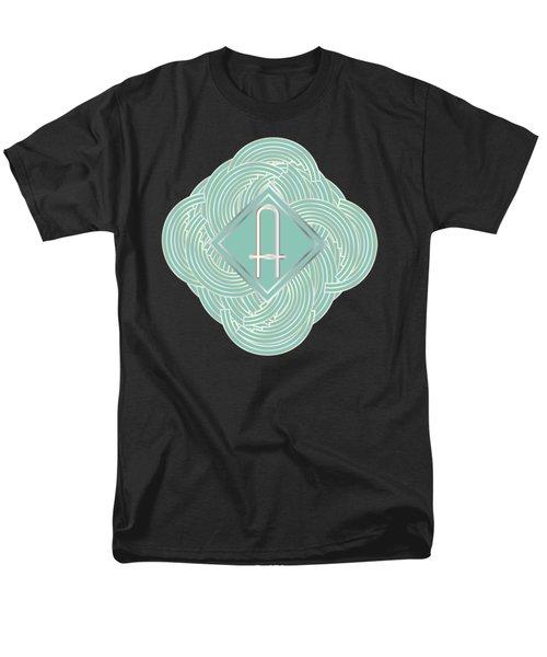 1920s Blue Deco Jazz Swing Monogram ...letter A Men's T-Shirt  (Regular Fit) by Cecely Bloom