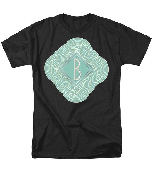 1920s Blue Deco Jazz Swing Monogram ...letter B Men's T-Shirt  (Regular Fit) by Cecely Bloom