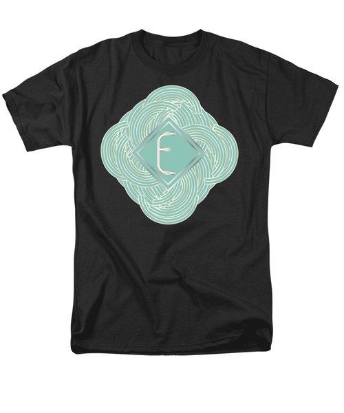 1920s Blue Deco Jazz Swing Monogram ...letter E Men's T-Shirt  (Regular Fit) by Cecely Bloom