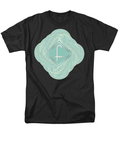 1920s Blue Deco Jazz Swing Monogram ...letter F Men's T-Shirt  (Regular Fit) by Cecely Bloom