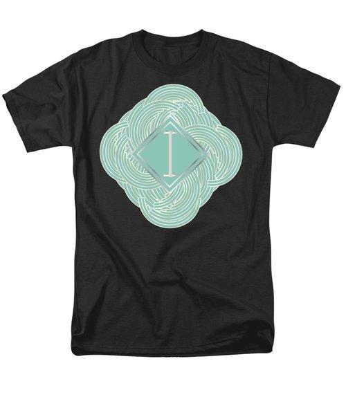 1920s Blue Deco Jazz Swing Monogram ...letter I Men's T-Shirt  (Regular Fit) by Cecely Bloom