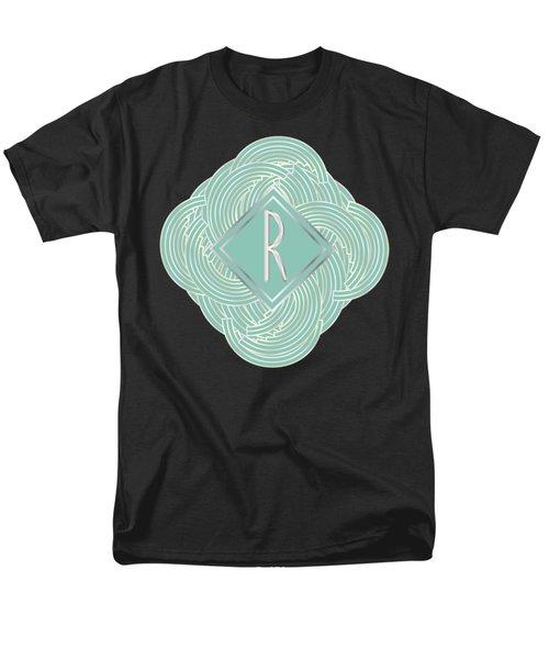 1920s Blue Deco Jazz Swing Monogram ...letter R Men's T-Shirt  (Regular Fit) by Cecely Bloom