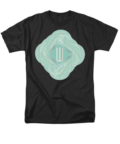 1920s Blue Deco Jazz Swing Monogram ...letter W Men's T-Shirt  (Regular Fit) by Cecely Bloom