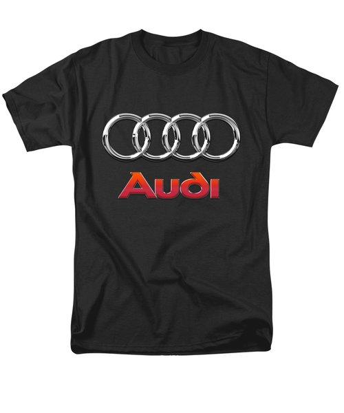 Audi 3 D Badge On Black Men's T-Shirt  (Regular Fit) by Serge Averbukh