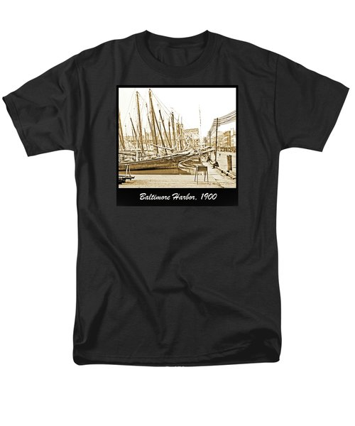 Men's T-Shirt  (Regular Fit) featuring the photograph Baltimore Harbor 1900 Vintage Photograph by A Gurmankin