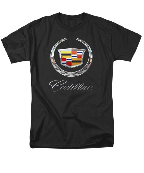 Cadillac - 3d Badge On Black Men's T-Shirt  (Regular Fit) by Serge Averbukh