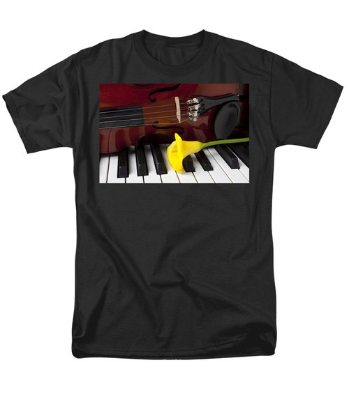 Calla lily and violin on piano T-Shirt by Garry Gay
