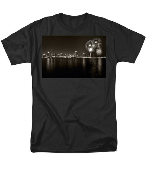 Chicago Skyline Fireworks BW T-Shirt by Steve Gadomski