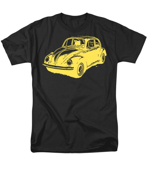 Classic Vw Beetle Tee Yellow Ink Men's T-Shirt  (Regular Fit) by Edward Fielding