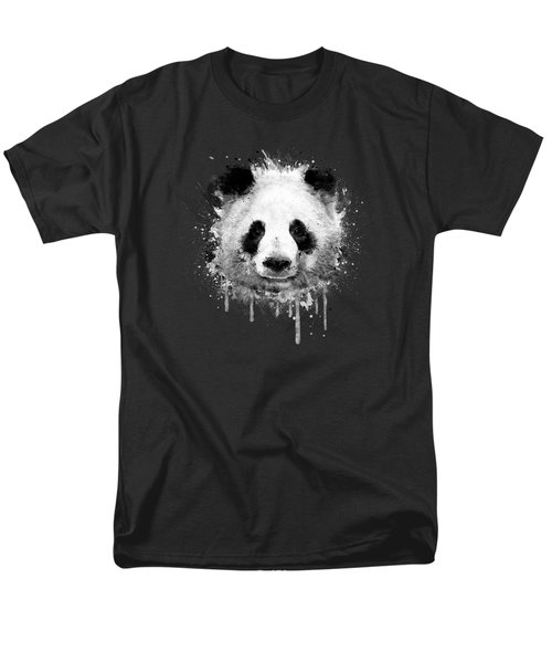 Cool Abstract Graffiti Watercolor Panda Portrait In Black And White  Men's T-Shirt  (Regular Fit) by Philipp Rietz