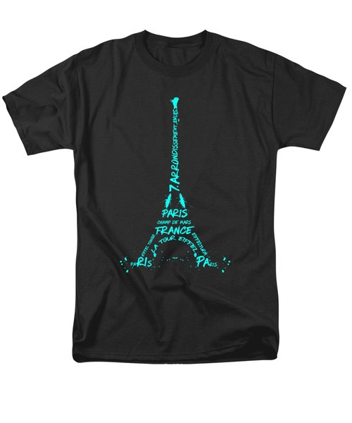 Digital-art Eiffel Tower Cyan Men's T-Shirt  (Regular Fit) by Melanie Viola