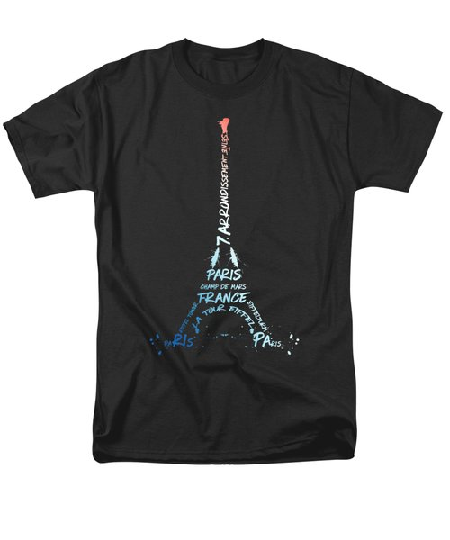 Digital-art Eiffel Tower National Colours Men's T-Shirt  (Regular Fit) by Melanie Viola