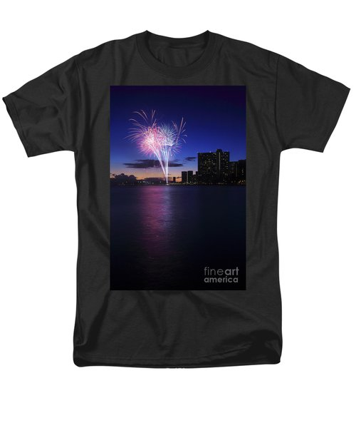 Fireworks over Waikiki T-Shirt by Brandon Tabiolo - Printscapes