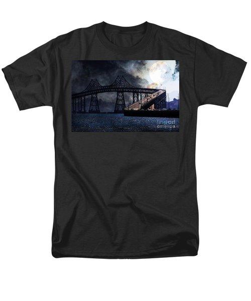 Full Moon Surreal Night At The Bay Area Richmond-San Rafael Bridge - 5D18440 T-Shirt by Wingsdomain Art and Photography