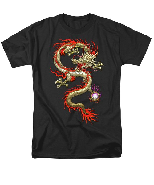 Golden Chinese Dragon Fucanglong On Black Silk Men's T-Shirt  (Regular Fit) by Serge Averbukh