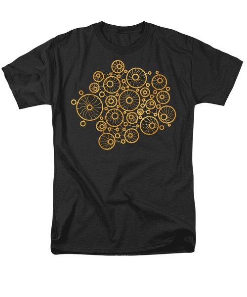 Golden Circles Black T-Shirt by Frank Tschakert