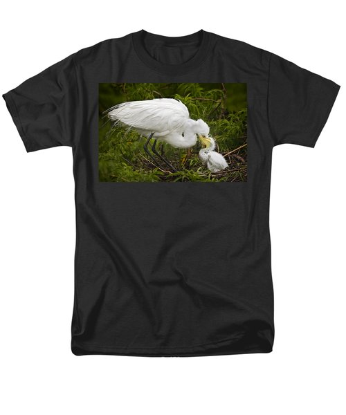 Great Egret and Chick T-Shirt by Susan Candelario