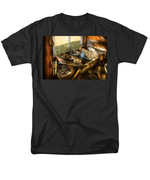 Handyman - Junk on a Bench T-Shirt by Mike Savad