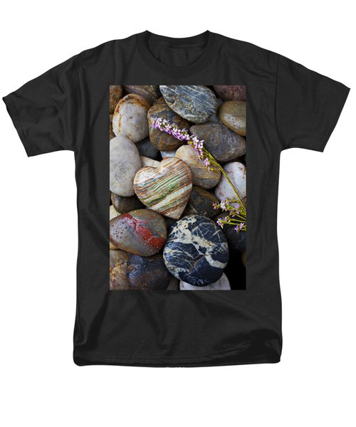 Heart stone with wild flower T-Shirt by Garry Gay