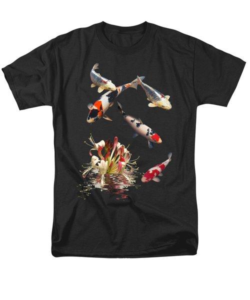 Koi With Honeysuckle Reflections Vertical Men's T-Shirt  (Regular Fit) by Gill Billington