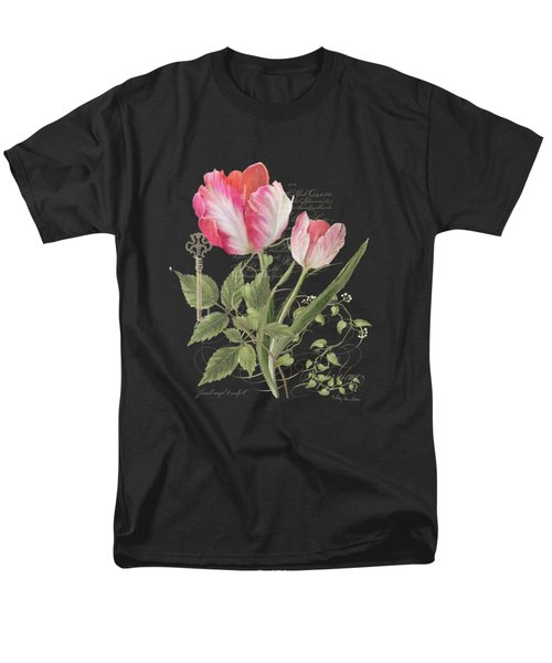 Les Fleurs Magnifiques En Noir - Parrot Tulips Vintage Style Men's T-Shirt  (Regular Fit) by Audrey Jeanne Roberts