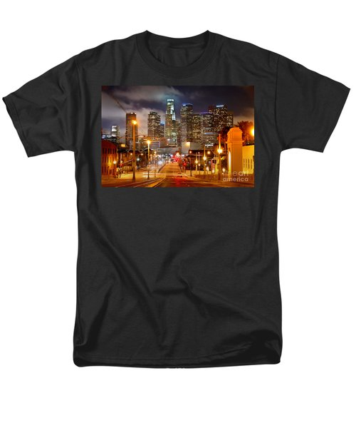 Los Angeles Skyline Night From The East Men's T-Shirt  (Regular Fit) by Jon Holiday